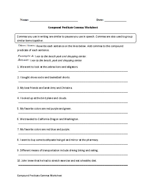 Compound Predicates Commas Worksheet | commas | Pinterest