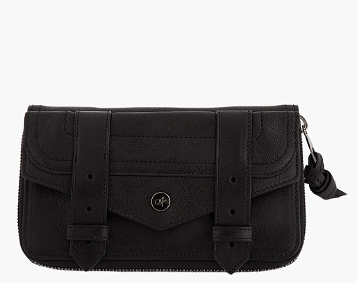 Black Leather PS1 Large Wallet by Proenza Schouler