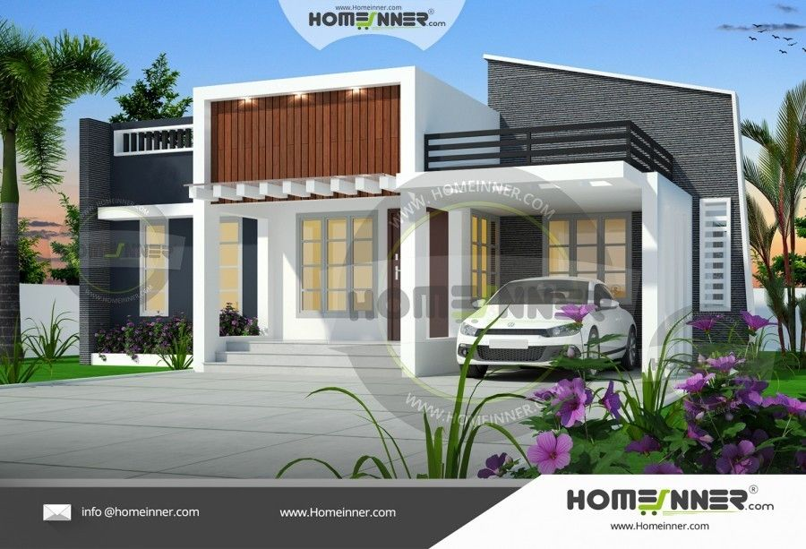 Contemporary House Elevation Single Floor: Single Floor 1000 Sq Ft Kerala House Elevation