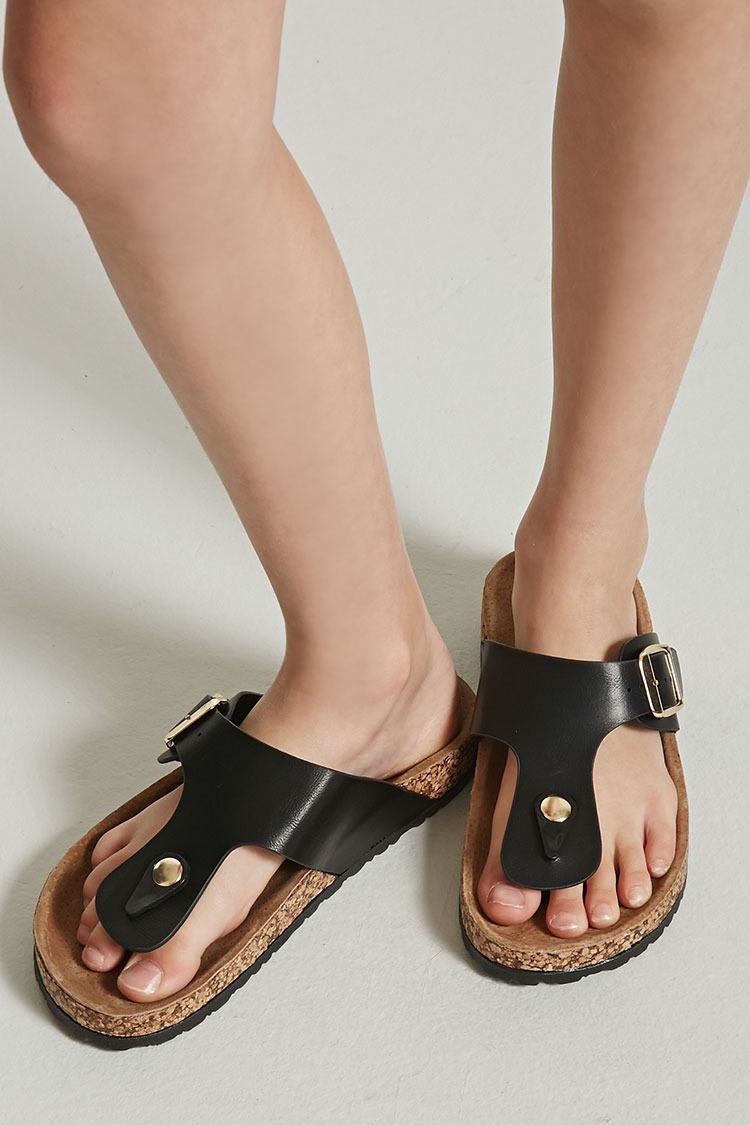8916b153b Forever 21 Girls - A pair of faux leather thong sandals featuring a side  buckle and molded sole. p - This is an independent brand and not a Forever  21 ...