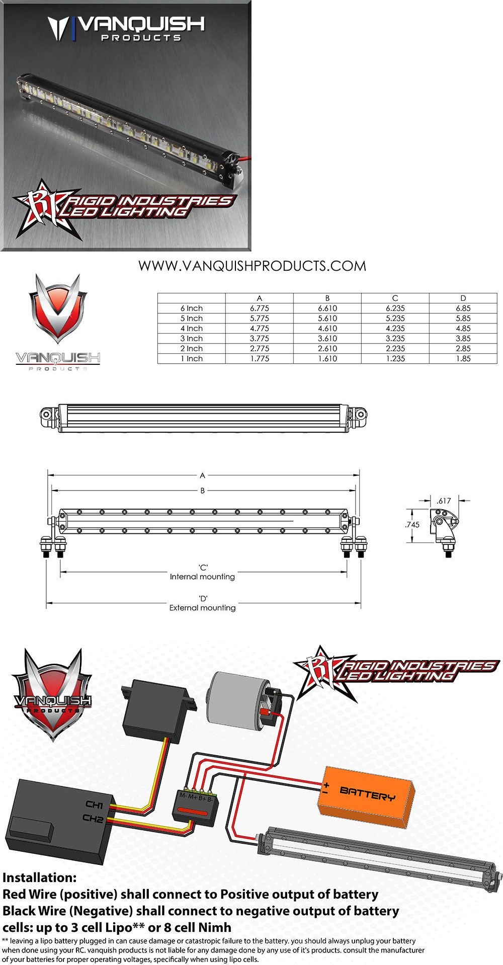 hight resolution of lighting and lamps 182177 vanquish rigid industries 6in led light bar black 1 10 scale axial hpi vps06751 buy it now only 58 99 on ebay lighting