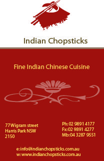 Business cards front design for indian chopsticks harris park business cards front design for indian chopsticks harris park parramatta reheart Gallery