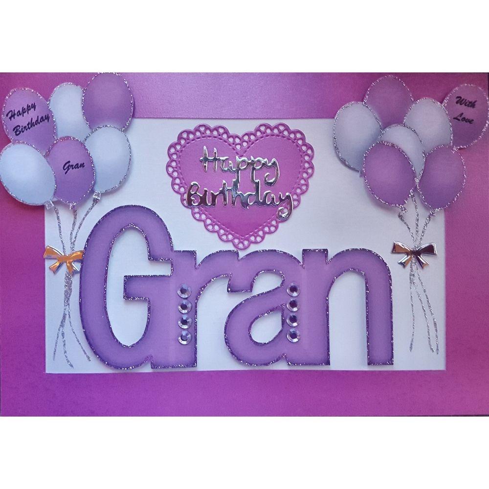 Handmade in UK Luxury Gran Happy Birthday Card