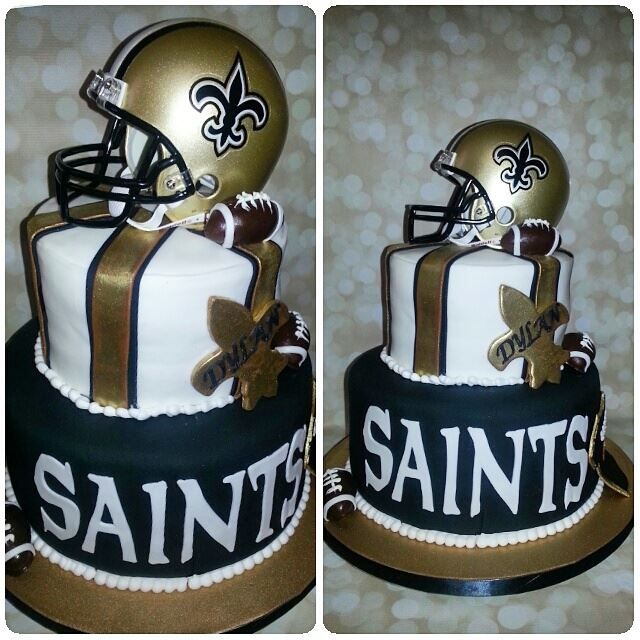 New Orleans Saints Birthday Cake Black And Gold Rosas Cakes Llc