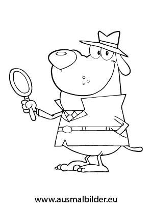 ausmalbild detektiv hund zum kostenlosen ausdrucken und ausmalen. ausmalbilder   malvorlagen