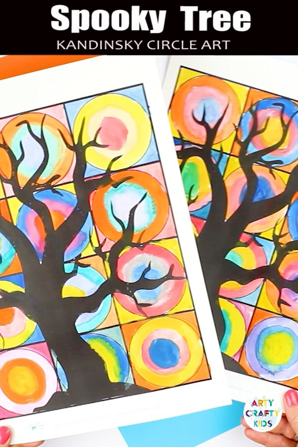 Spooky Tree Kandinsky Inspired Circle Art