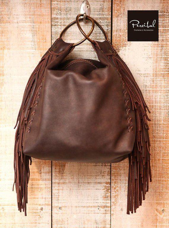 Chocolate Brown Leather Bag Soft Handbag Fringes Purse Fringed Evening Small L
