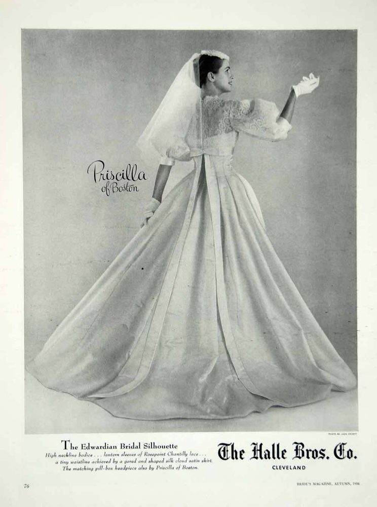 1956 Ad Vintage Priscilla of Boston Wedding Dress Bride Bridal Gown ...