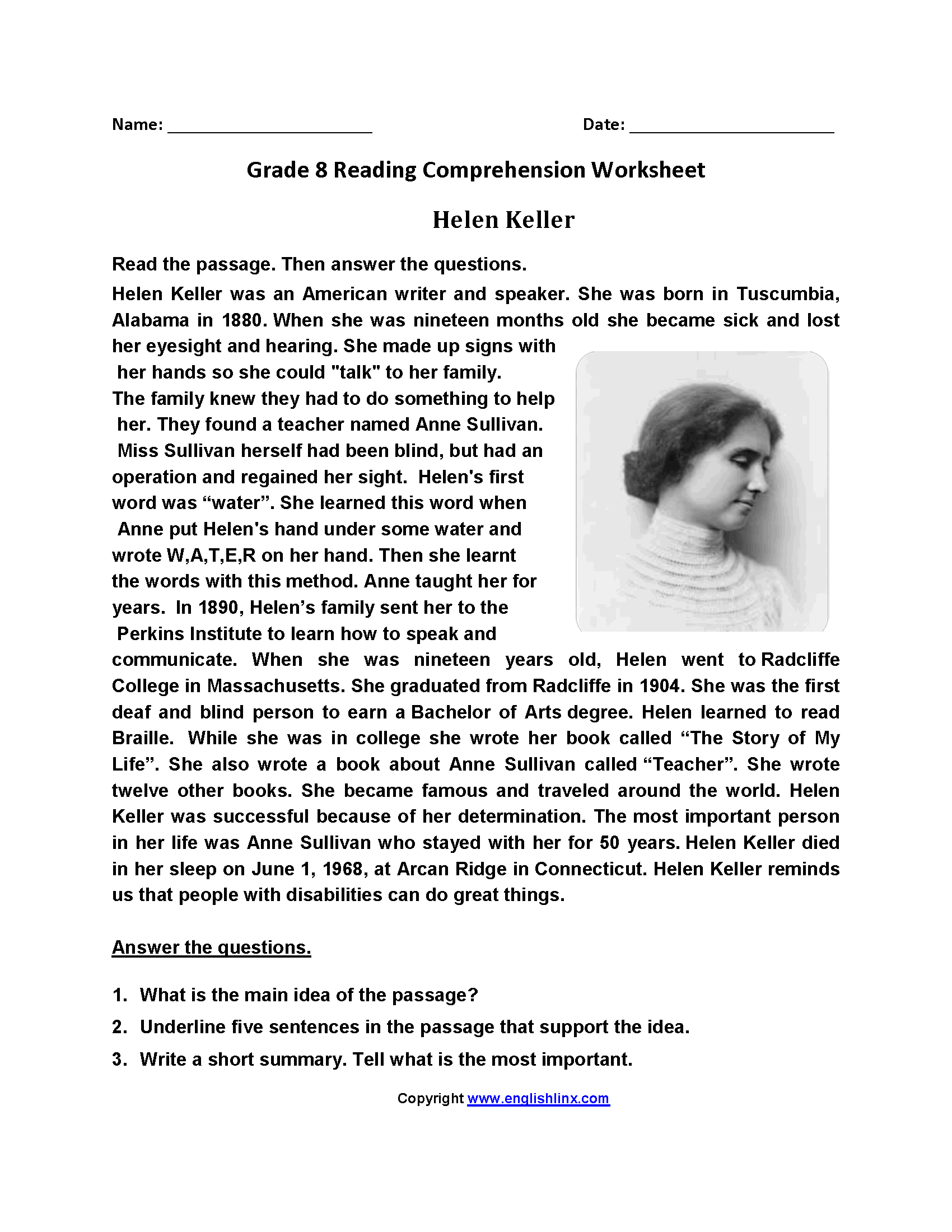 Helen Keller Eighth Grade Reading Worksheets