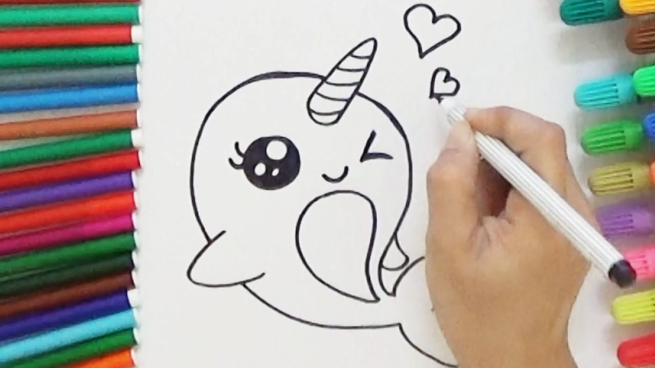 How To Draw A Cartoon Unicorn Whale Cute And Easy Bodraw Unicorn Drawing Cartoon Unicorn Cartoon Drawings