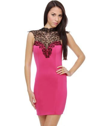 Lyric Poetry Lace Fuchsia Pink Dress