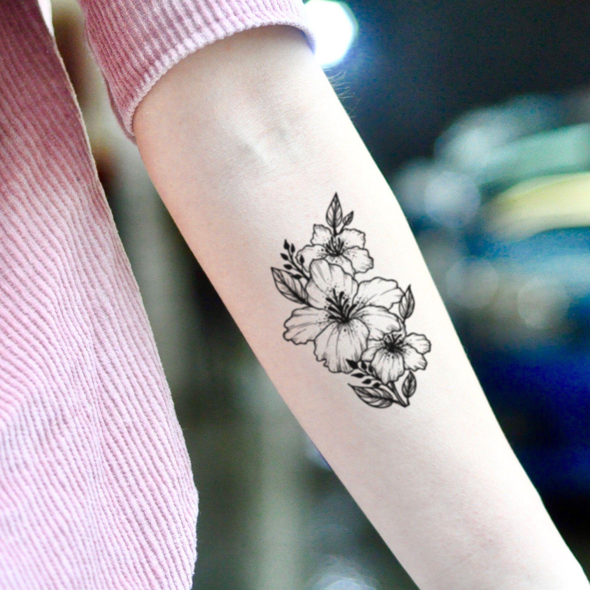 Azalea Temporary Tattoo Sticker Set Of 2 In 2020 Black Flowers Tattoo Tattoos Tattoo Stickers