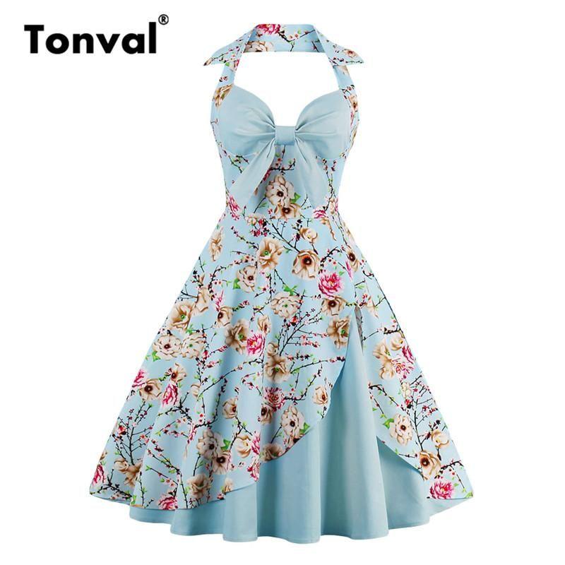 15a25c5bdba Tonval Vintage Bow Sexy Halter Party Dresses Women Floral Rockabilly 4XL Plus  Size Backless Flower Print Dress  sweet  beautiful  cute  instafashion ...