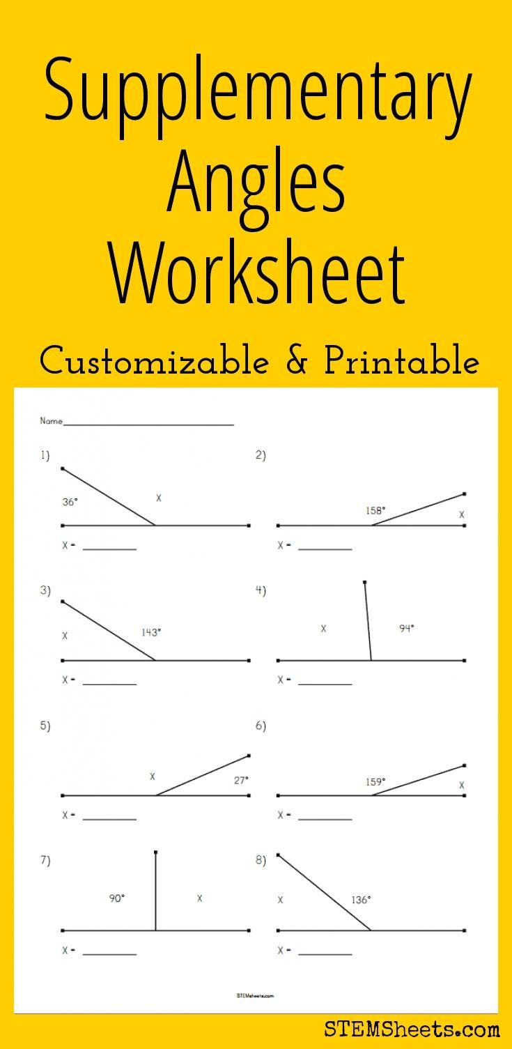 supplementary angles worksheet customizable and printable math stem resources pinterest. Black Bedroom Furniture Sets. Home Design Ideas