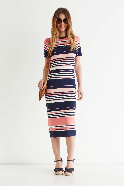 d4cf53125f Pink Candy Stripe Tube Midi Dress