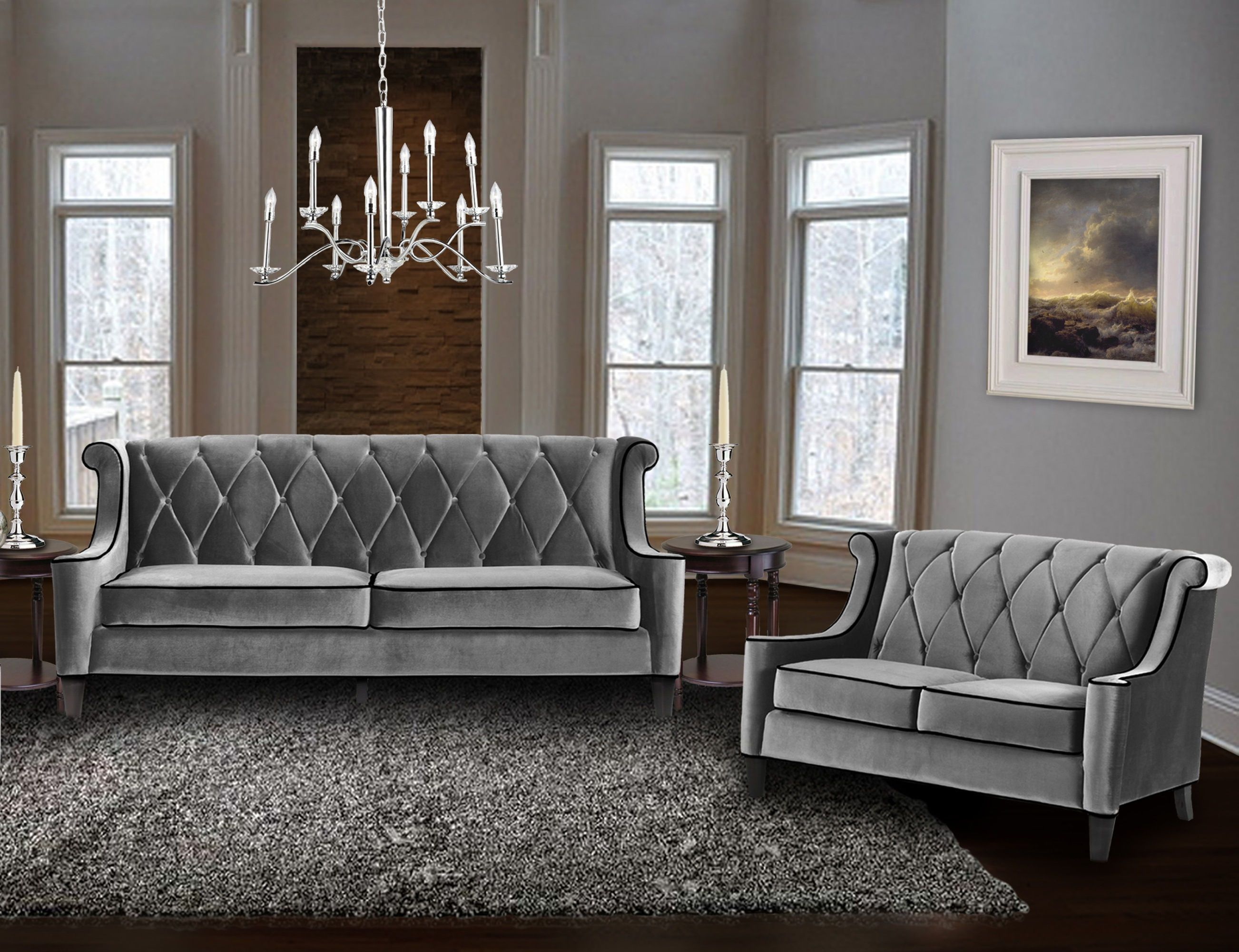 Barrister Gray Velvet Tufted Crystal Buttons 2pc Living Room Set