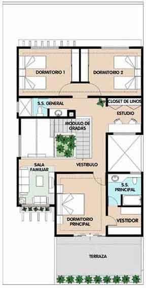 Planos de casa habitaci n de dos niveles en un terreno de for Planos de departamentos de una habitacion