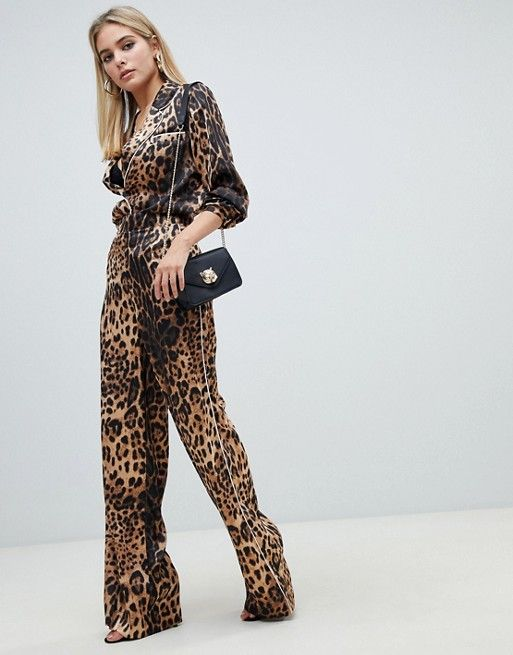 343aeb7bd172 Missguided satin tailored wide leg in leopard | Trend FW19: Animal Style |  Fashion, Snake print pants, Fashion dresses