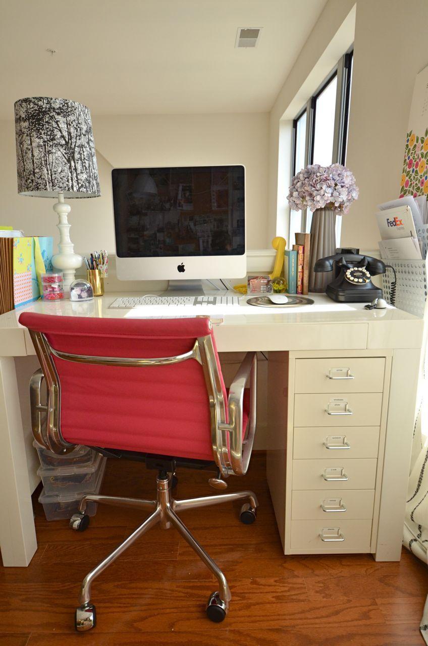 West Elm Parsons Desk & Ikea Helmer 6 Drawer Unit Via Onmyagenda