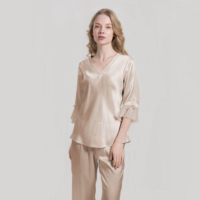 Women Casual Sleepwear Loungewear Half Sleeve Lace Up Silk Nightwear Robe Shorts
