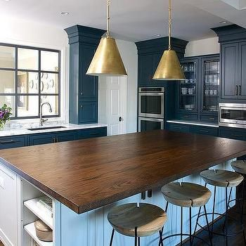 Butcher Block Kitchen Island With Brass Pendants And Round Stools Amazing Butcher Block Kitchen Island Design Ideas