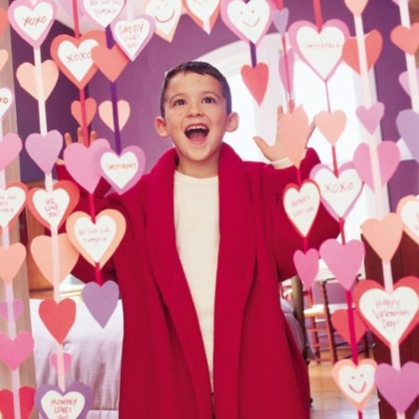 i wanna do this when the kids wake up valentines day with things i love about them written on the hearts place hearts onto a length of ribbon and tape or - Valentines Day With Kids