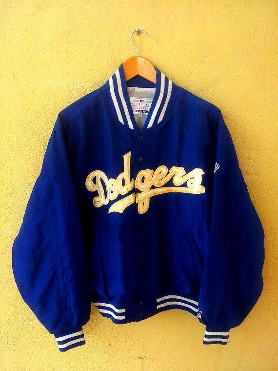 9119d11b8 Vintage Los Angeles DODGERS Baseball Satin Blue Varsity Jacket ...