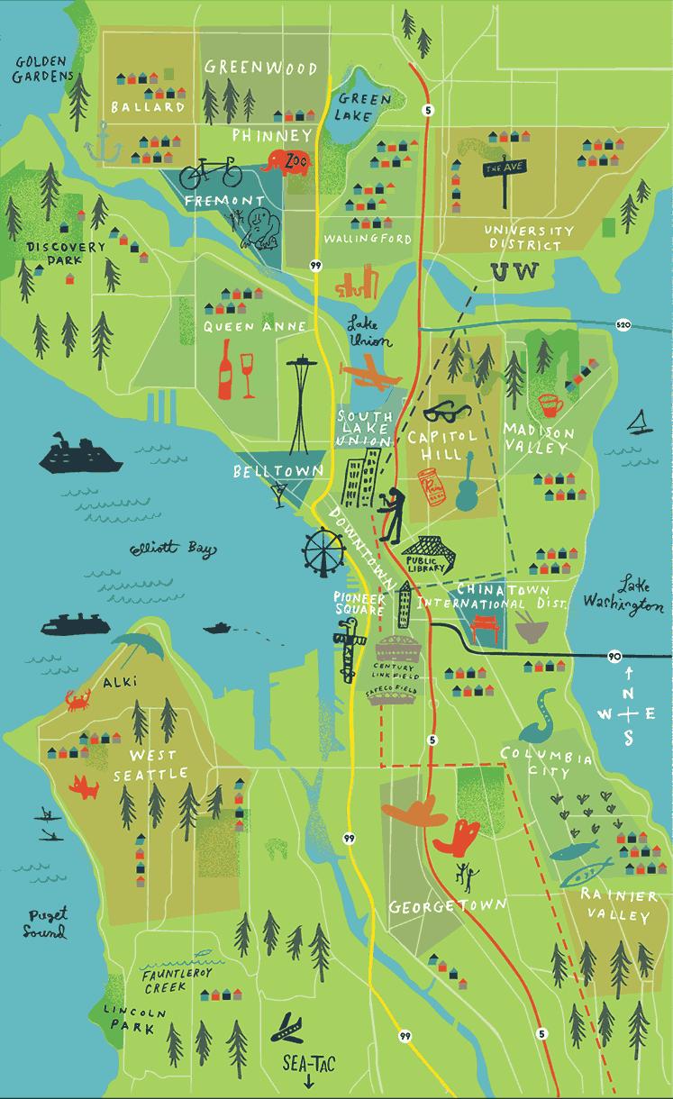 Seattle Neighborhoods Map living in the PNW Pinterest