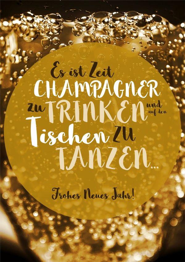 Champagner trinken und Frohes Neues Jahr | Neujahrskarten - New ...