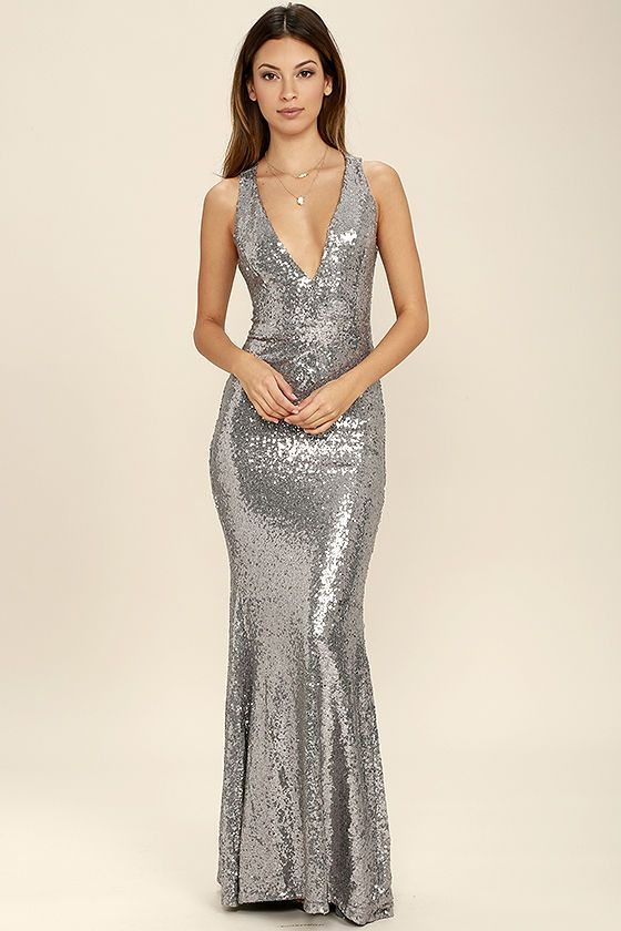 fe7912b5966 Your good fortune just got better thanks to the Your Luxe Day Pewter Sequin  Maxi Dress! Shimmering pewter sequins cover stretch knit as it shapes a  plunging ...