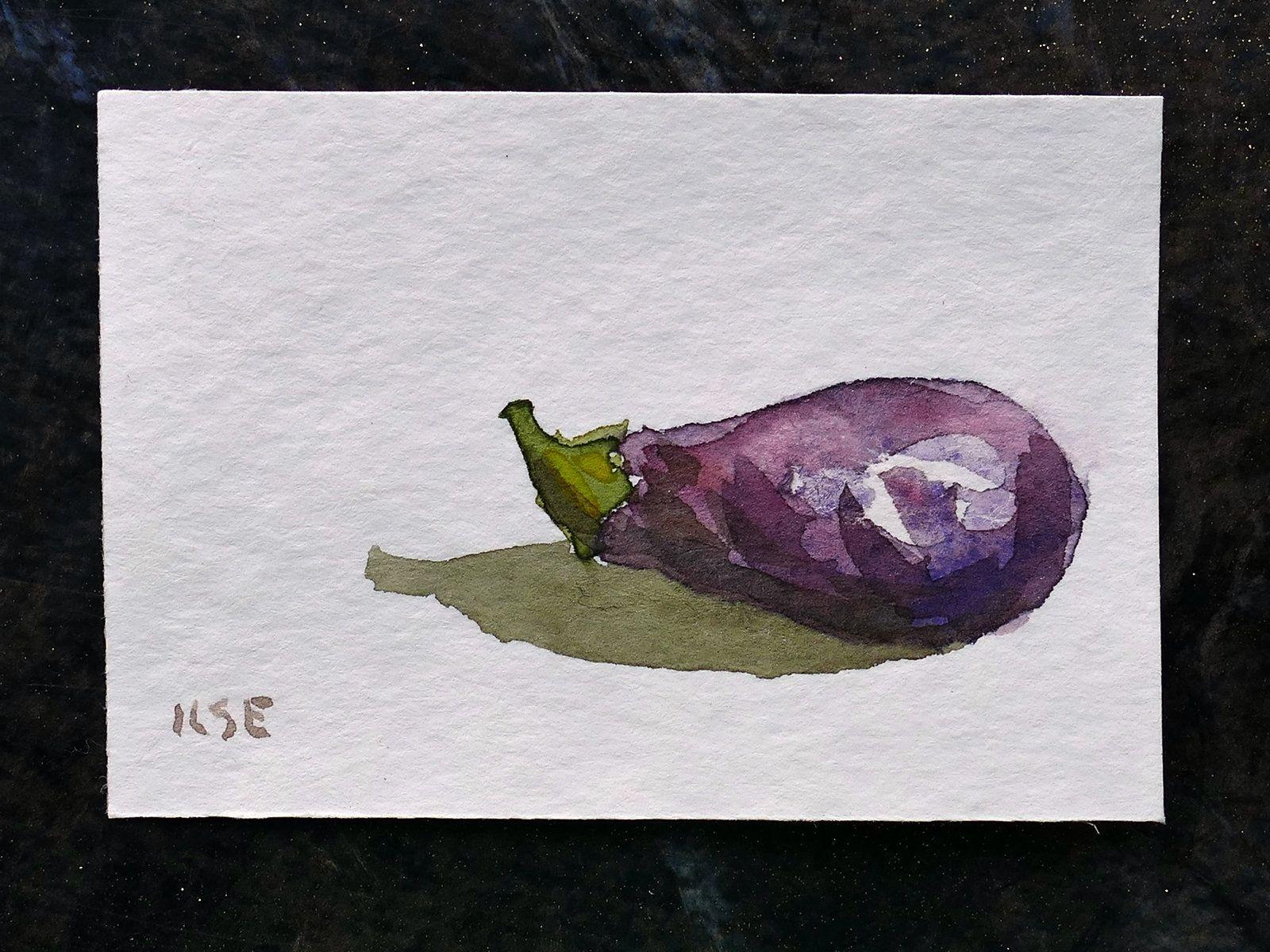 Miniature Aubergine Fruit Original Watercolor Painting Soft