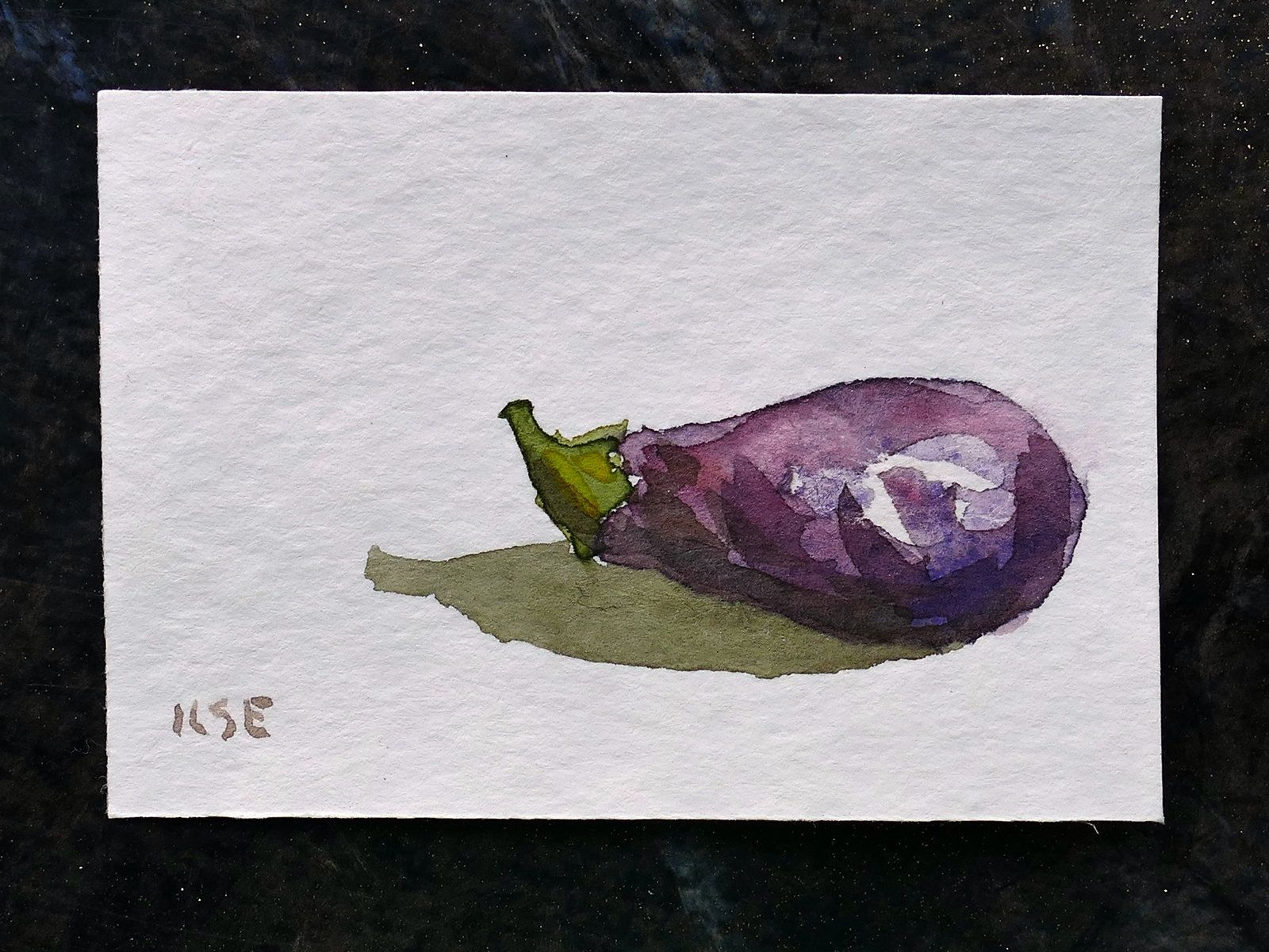 Miniature Aubergine Fruit Original Watercolor Painting Soft