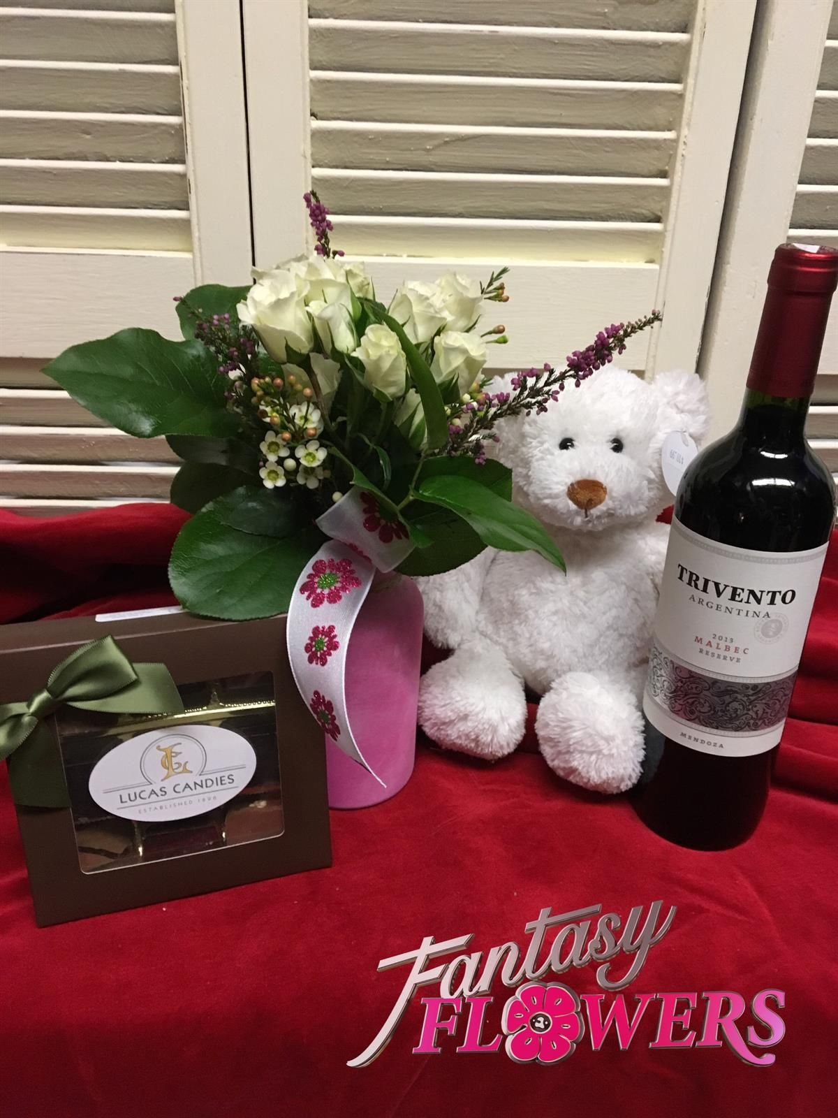 Valentine Package Include Candy Flowers Wine Bear And Flowers For 79 99 Romantic Flowers Flower Gift Flowers