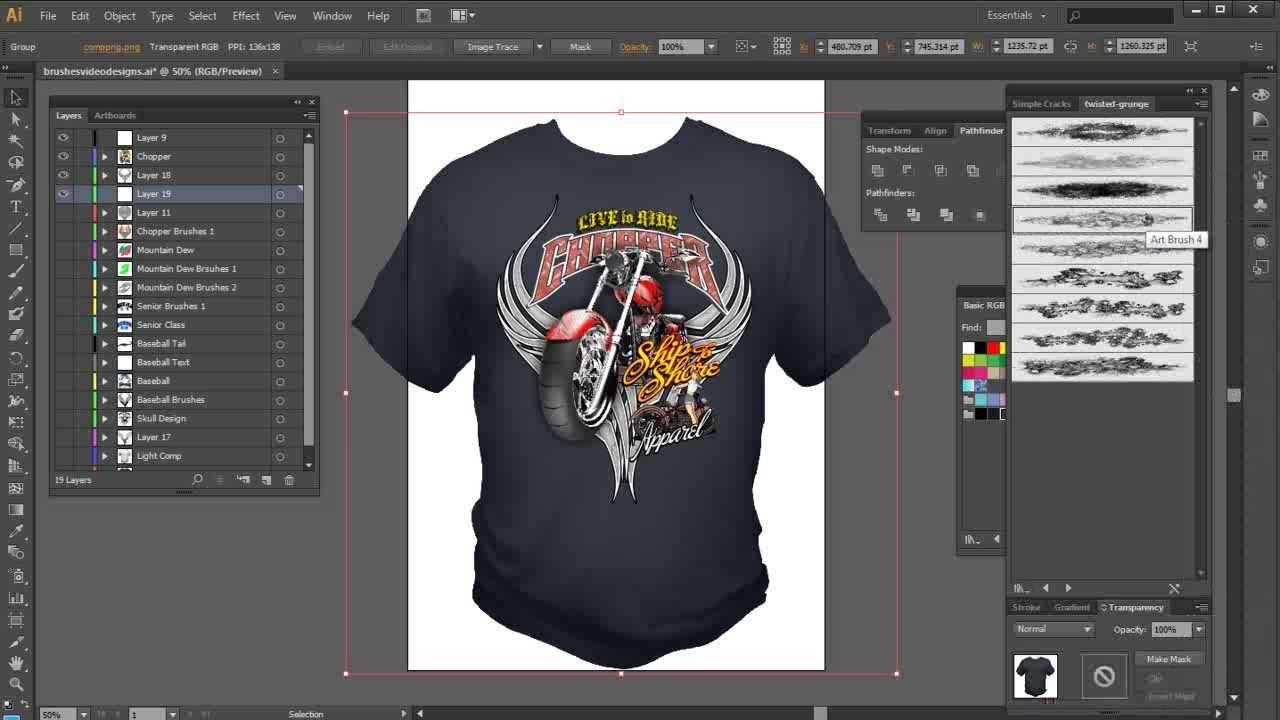 Illustrator Brushes highend tshirt design tutorial