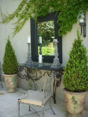 Rosemary Cones Garden Mirrors Patio Inspiration Courtyard Garden