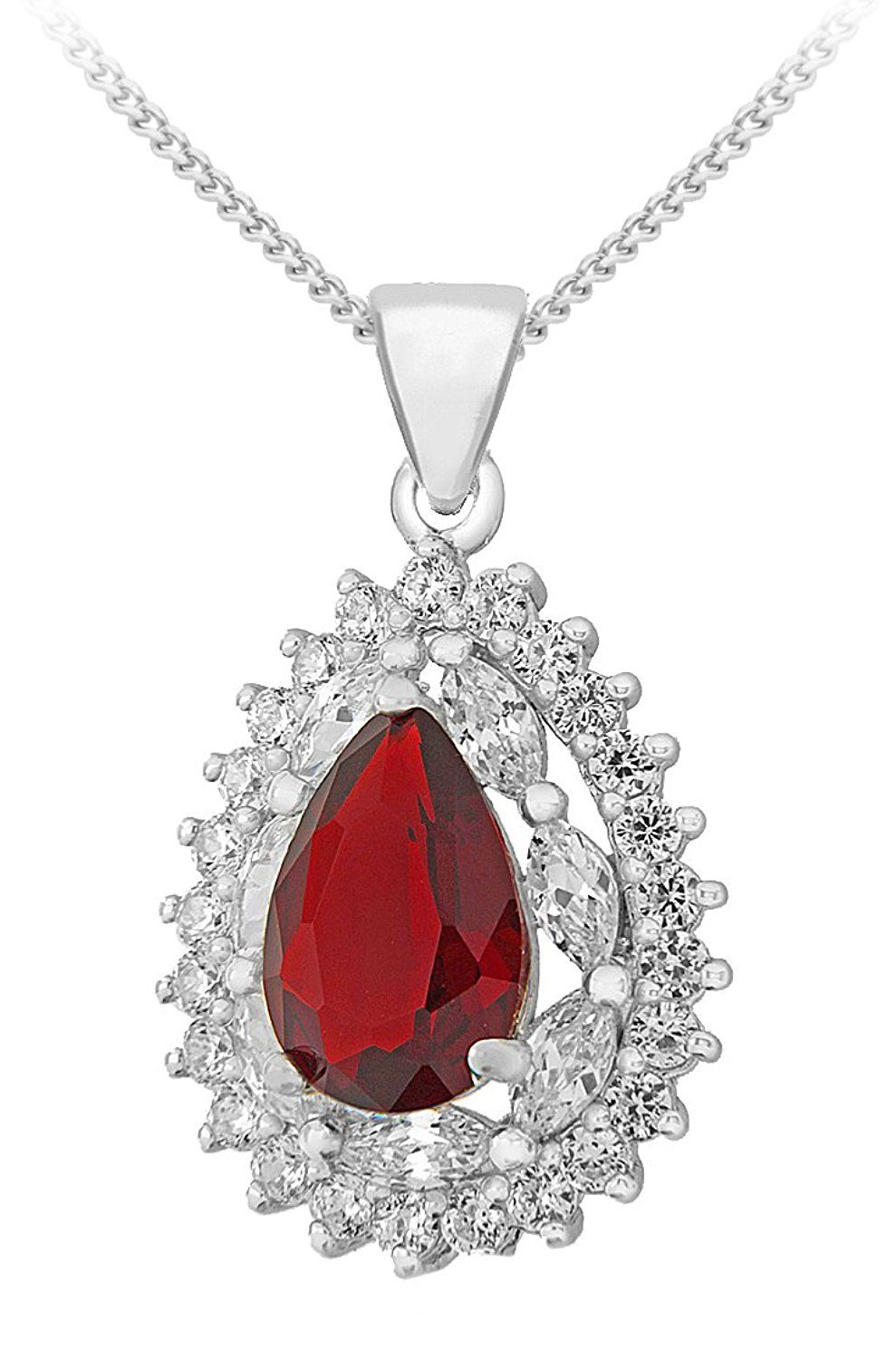 Tuscany Silver Sterling Red And White Cubic Zirconia Cer Teardrop Pendant On Chain Necklace Of