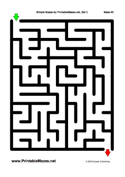 A Printable Pdf File With 10 Simple Mazes One Per Page Free To