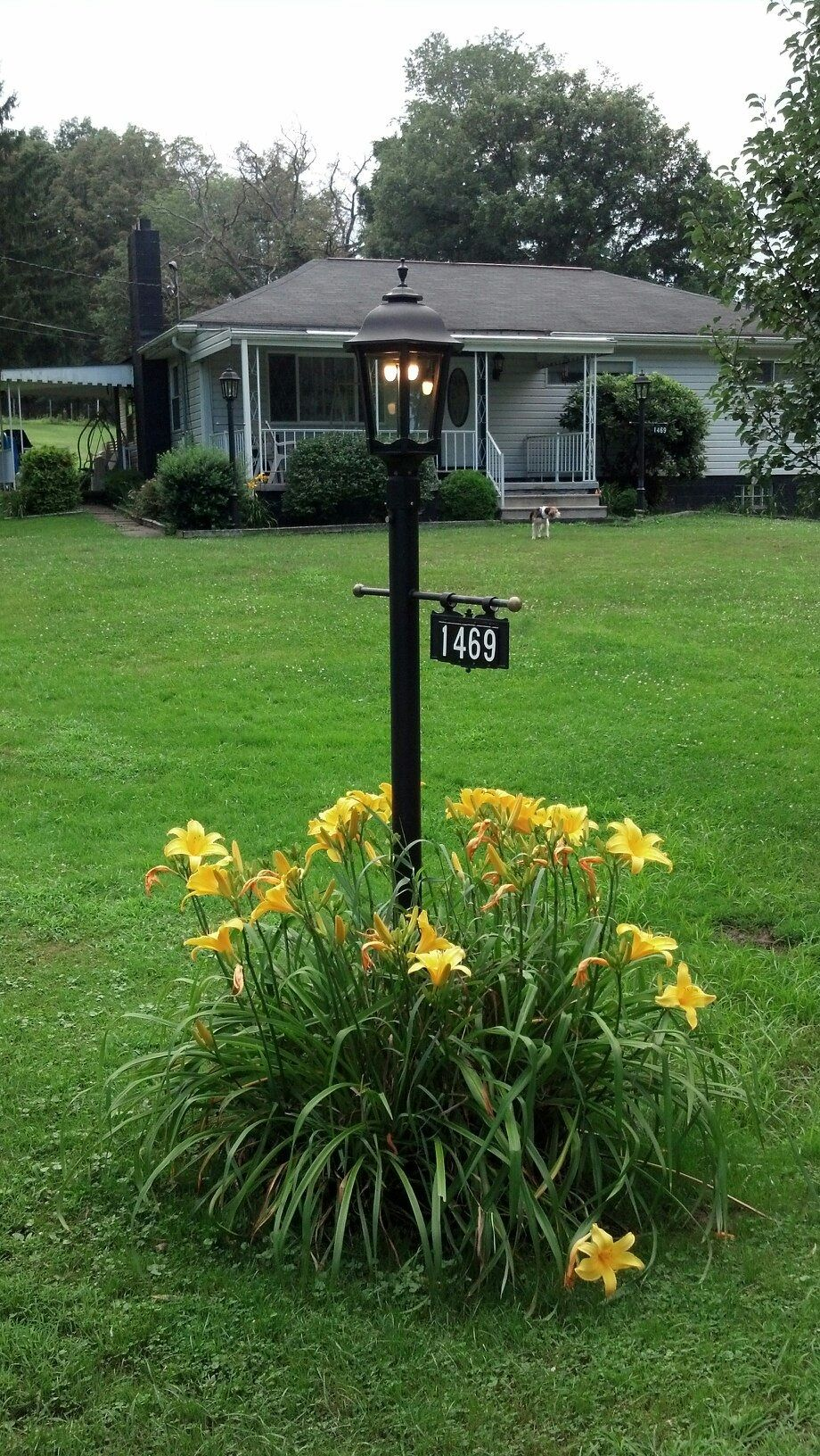 A Beautiful Post Mounted Bavarian Lamp With Dual Gasglow Led And A Hanging Sign Plaque W Light Post Landscaping Outdoor Landscape Lighting Mailbox Landscaping