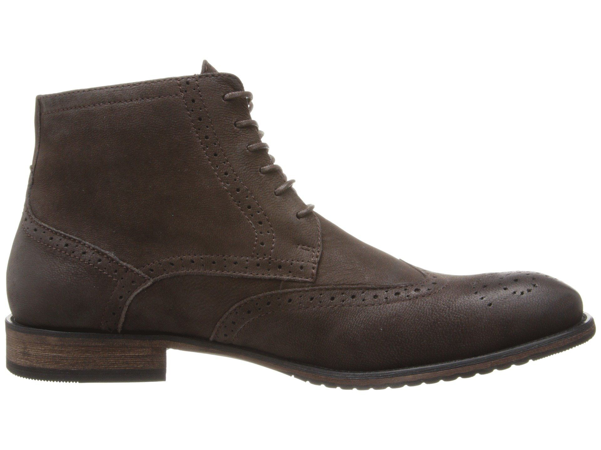 footgift bottine homme brogue marron en daim avec lacets bout rond