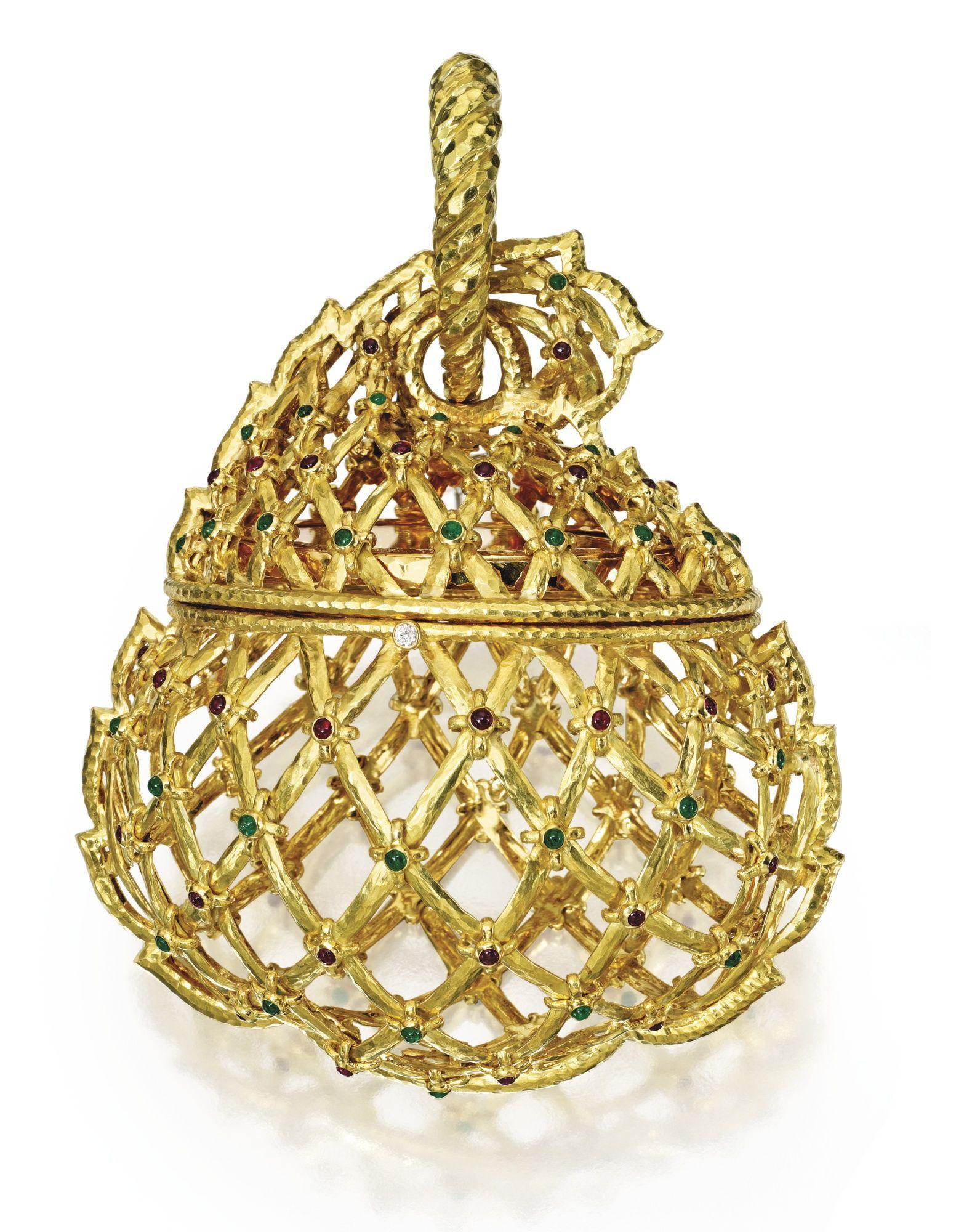 karat gold ruby emerald and diamond evening bag david webb