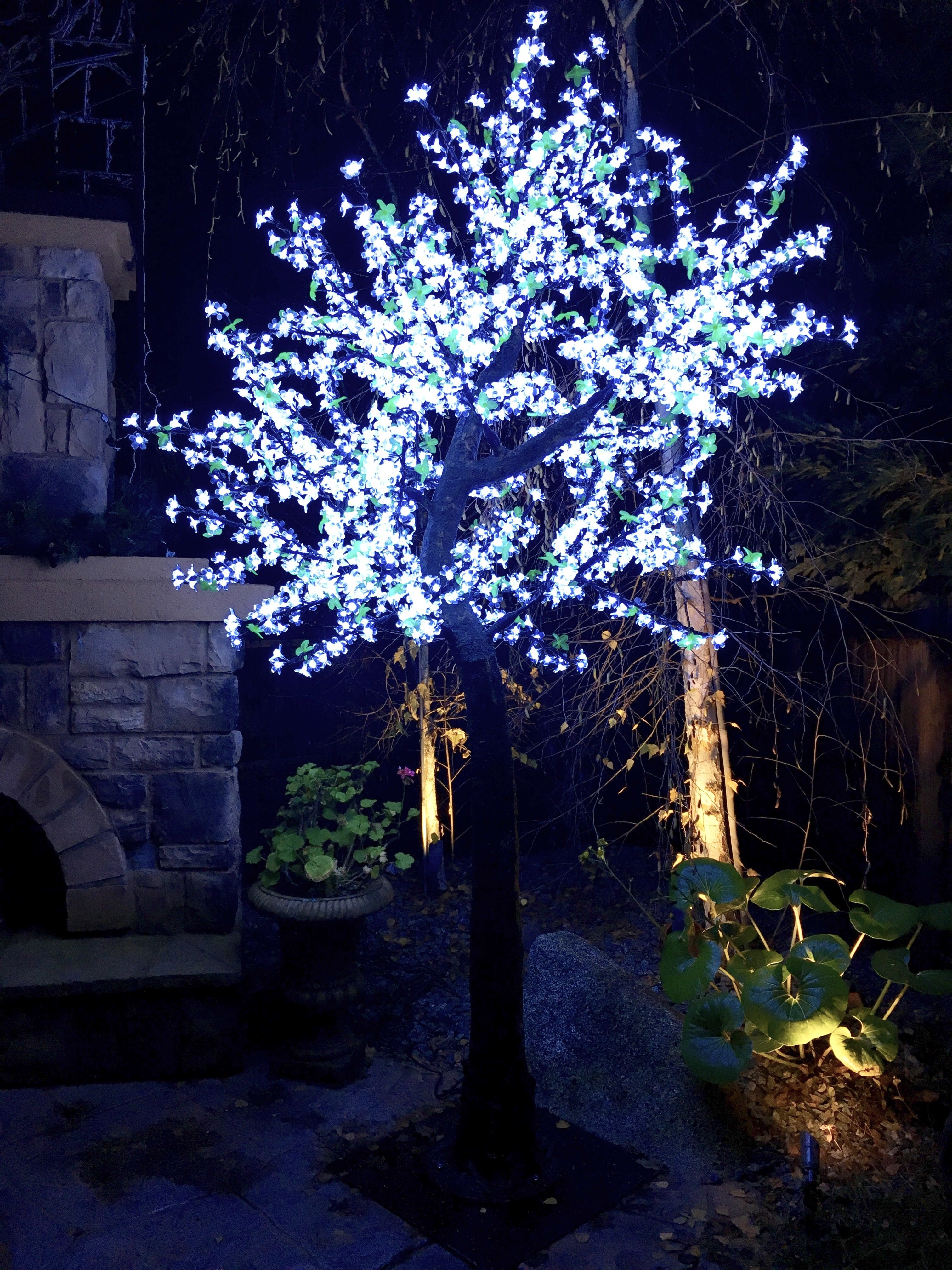 9ft Simulation Trunk Cool White Led Cherry Blossom Tree W Green Leaves Outdoor Led Tree Cherry Blossom Tree Blossom Trees
