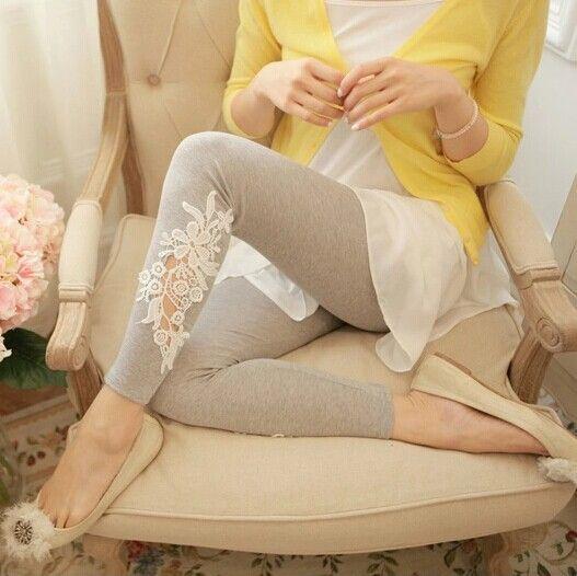 Envío gratis primavera 2015 nueva versión coreana de la mujer gran tamaño de punto leggings de encaje de algodón más el tamaño XL 3XL P021 en Leggings de Moda y Complementos Mujer en AliExpress.com | Alibaba Group
