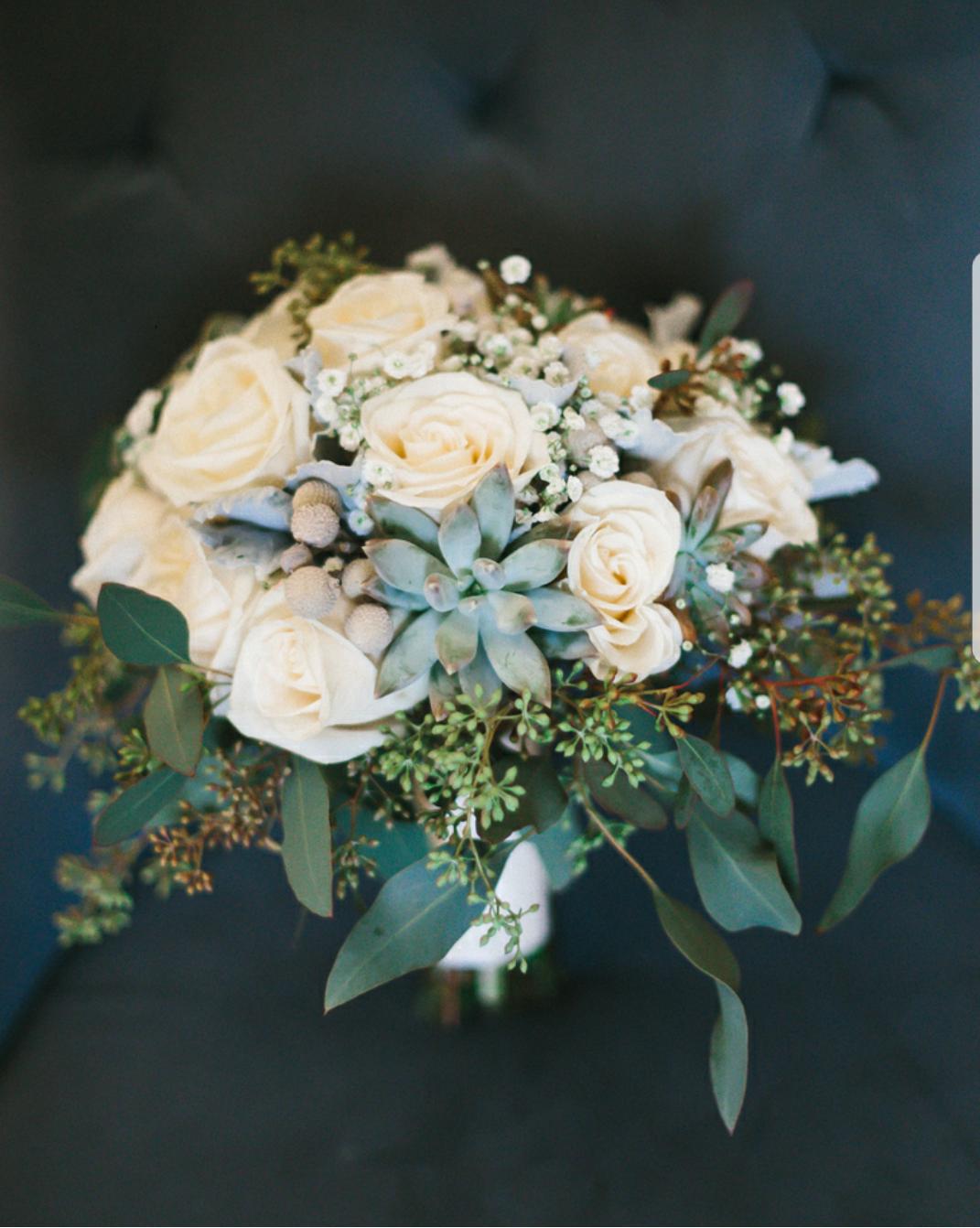 White and green wedding bouquet; succulent bridal bouquet
