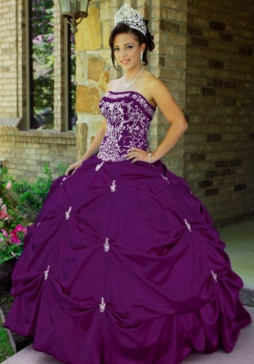 purple grad dress with rushing on top and on the bottom