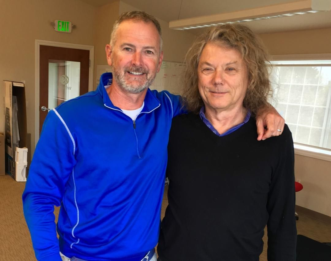 Rob Dumas, found of whurk, and Jerry Harrison, of the Talking Heads.