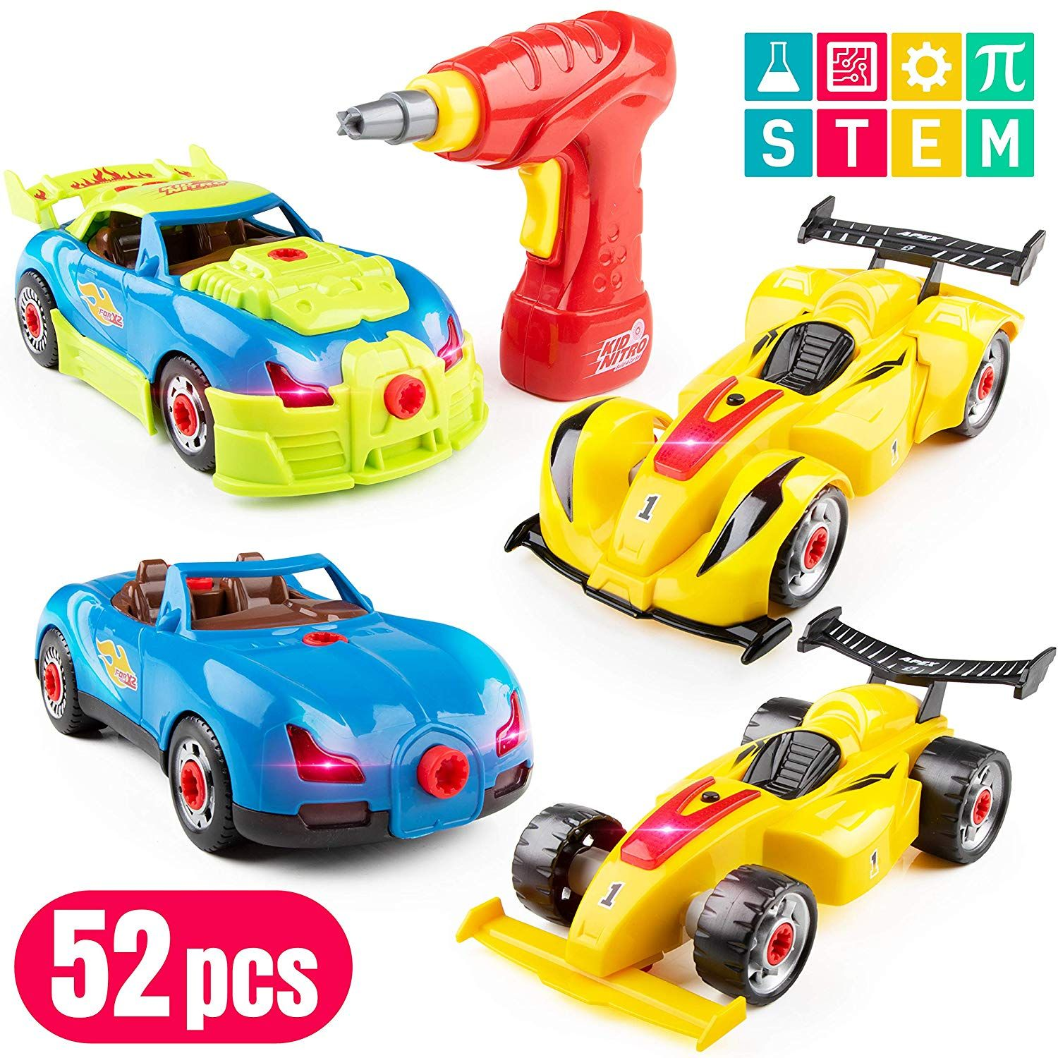 Amazon Com Usa Toyz Race Car Take Apart Toys 53pk Build A Car Stem Building Toys Set Take Apart Car Building Kits Building Toys For Kids Stem Toys Toy Car