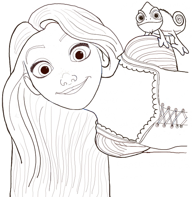 How to Draw Rapunzel and Pascal from Tangled with Easy ...