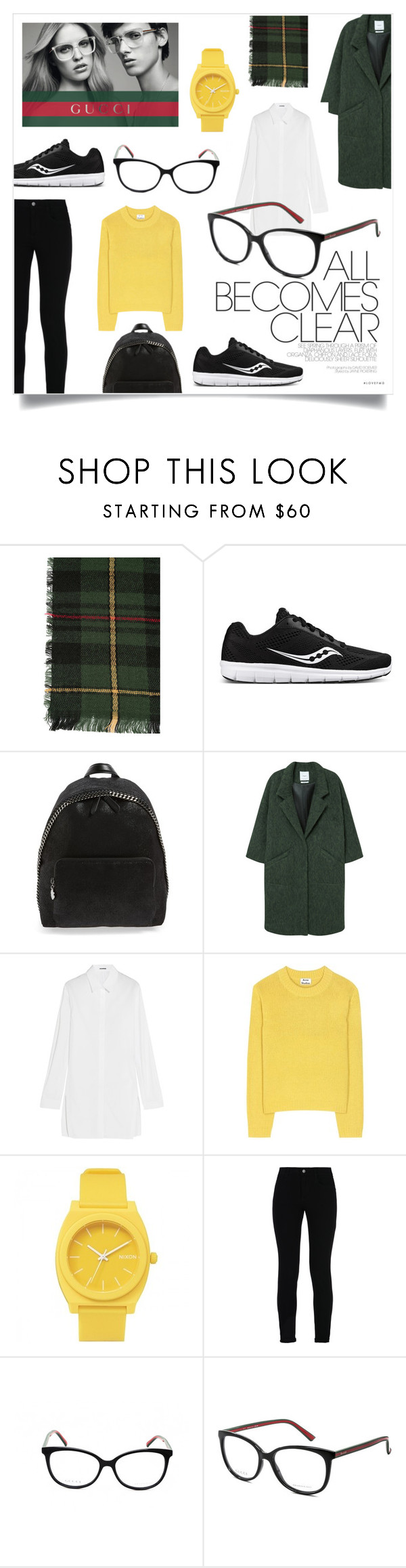 """""""A Moment of Clarity"""" by lamemechose ❤ liked on Polyvore featuring Saucony, STELLA McCARTNEY, MANGO, Jil Sander, Acne Studios, Nixon, Gucci, StreetStyle, sneakers and smartbuyglasses"""