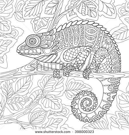 zentangle stylized cartoon chameleon sitting on a tree