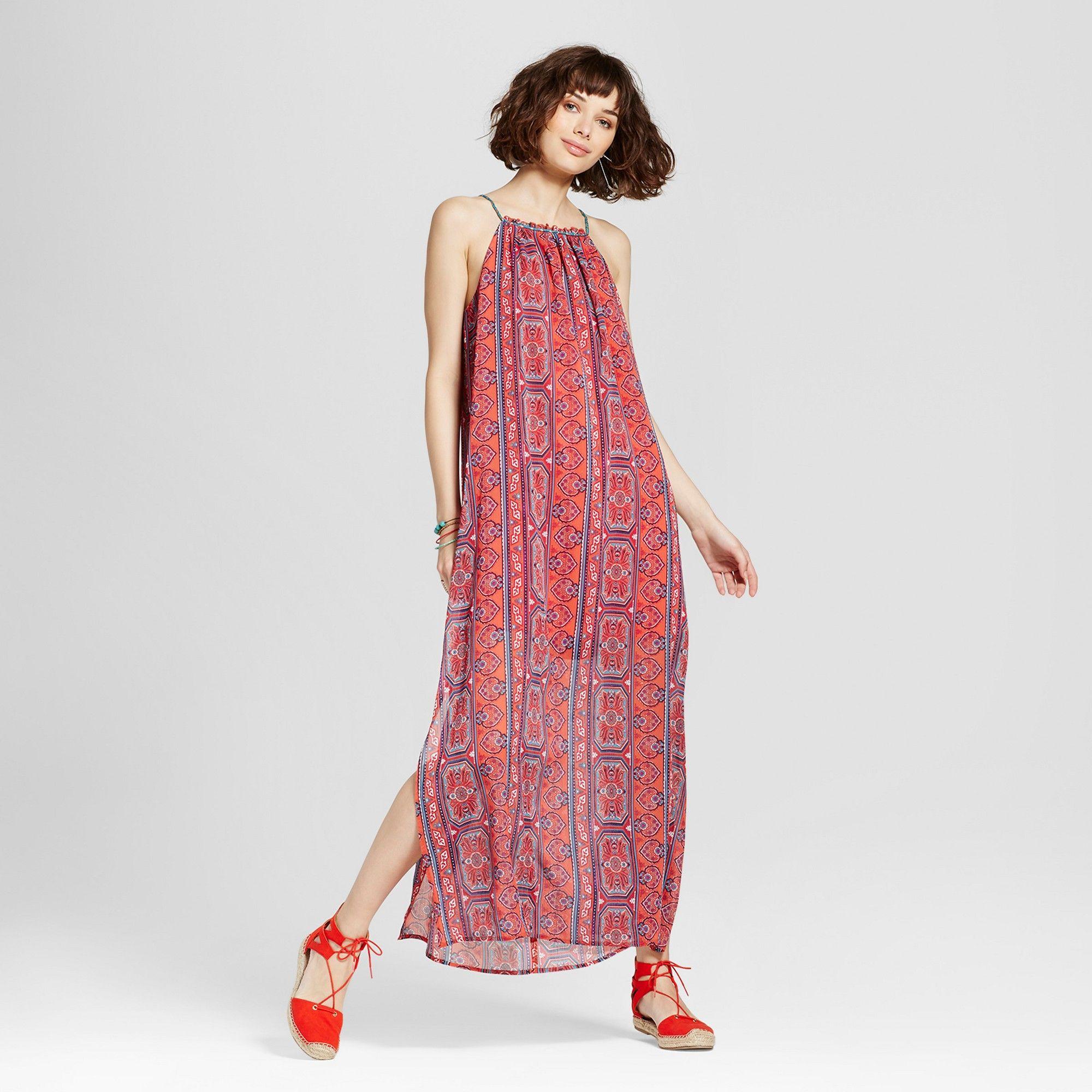 Womenus highneck printed maxi dress xhilaration juniorsu pink s
